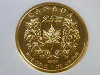 メイプルリーフ誕生25周年記念金貨